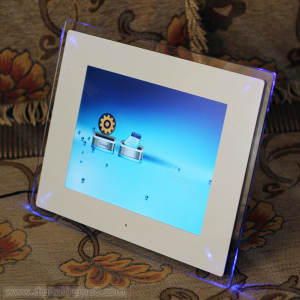 large 15 inch digital photo frame in white with blue led light